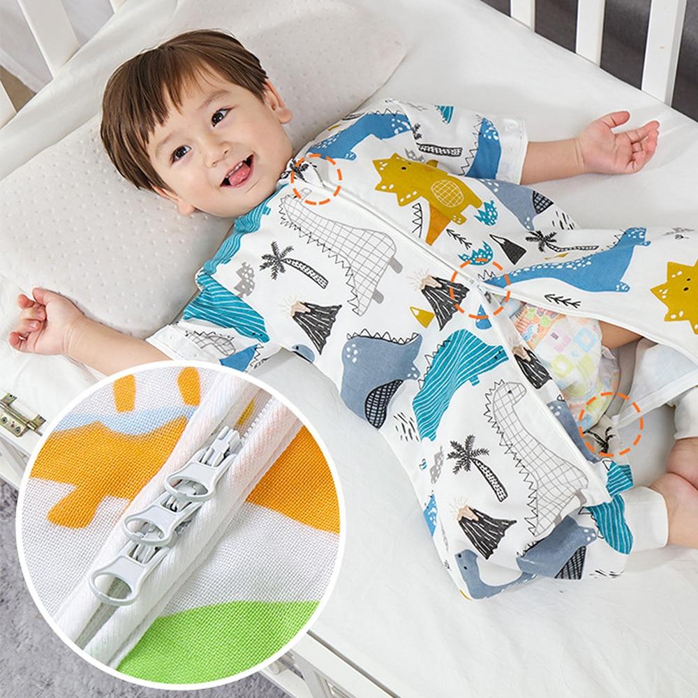 Summer Kid's Newborn Cotton Sleeping Bag Split Leg Sleeping Sack Bag Breathable Toddler Baby Anti-kick Pajamas Four Seasons