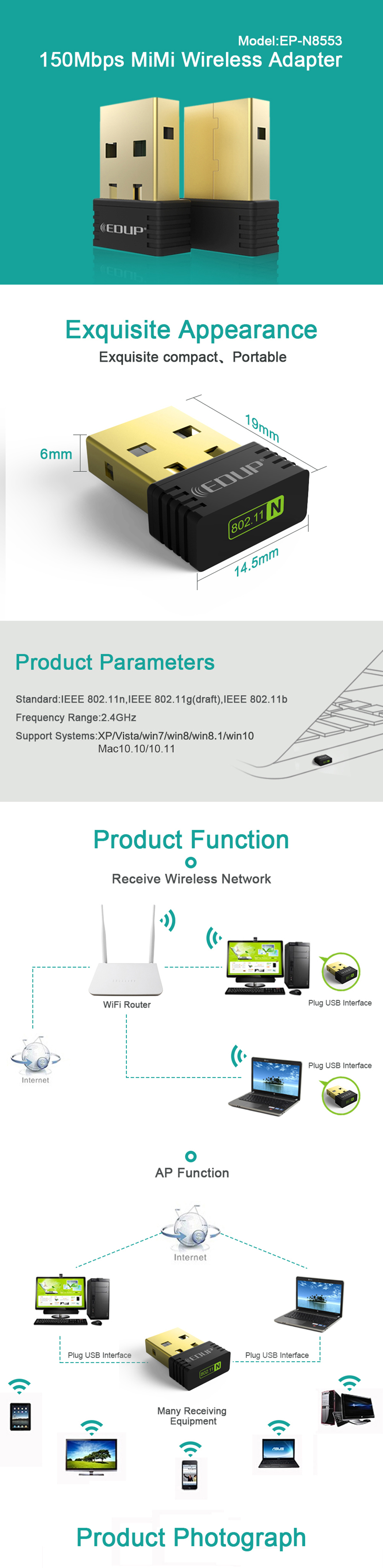 IsMyStore: EDUP mini usb wireless wifi adapter 150mbps wi-fi receiver 802.11n usb ethernet adapter network card Support Windows Mac for PC