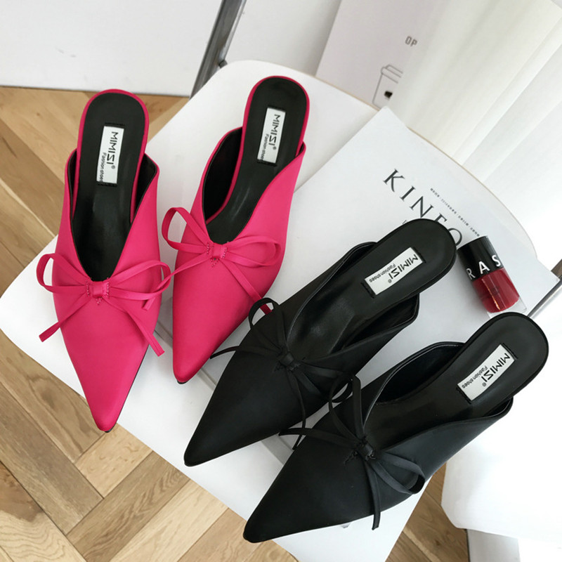 NEW women slippers thin heels slides gentlewoman fashion lady shoes silk pointed toe butterfly-knot solid black Rose red venchale 2018 summer new cow leather solid outside butterfly knot high thin heel three colors casual pointed toe women s slides
