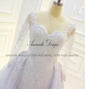 Image 5 - Amanda Design robe de mariee Long Sleeve Beading Detachable Skirt Wedding Dress