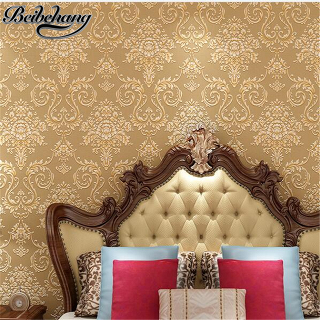 beibehang European Blue Damascus 3D Stereo Fine Nonwovens Wallpaper Bedroom Living Room TV Wall Wallpaper papel de parede