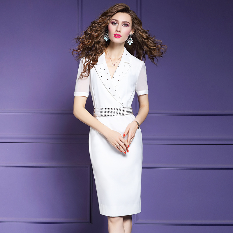 Spring 2019 new Women Office Lady dress sexy Business affairs Party Dress Plus Size Vintage occupation
