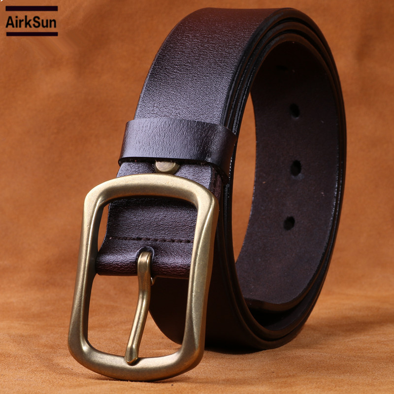 1ba98b01c4e2 Solid Brass Buckles Men Brown Genuine Leather Belt Designer Belts Men High  Quality Vintage Man Belts Gold Mens Casual Belt 125cm