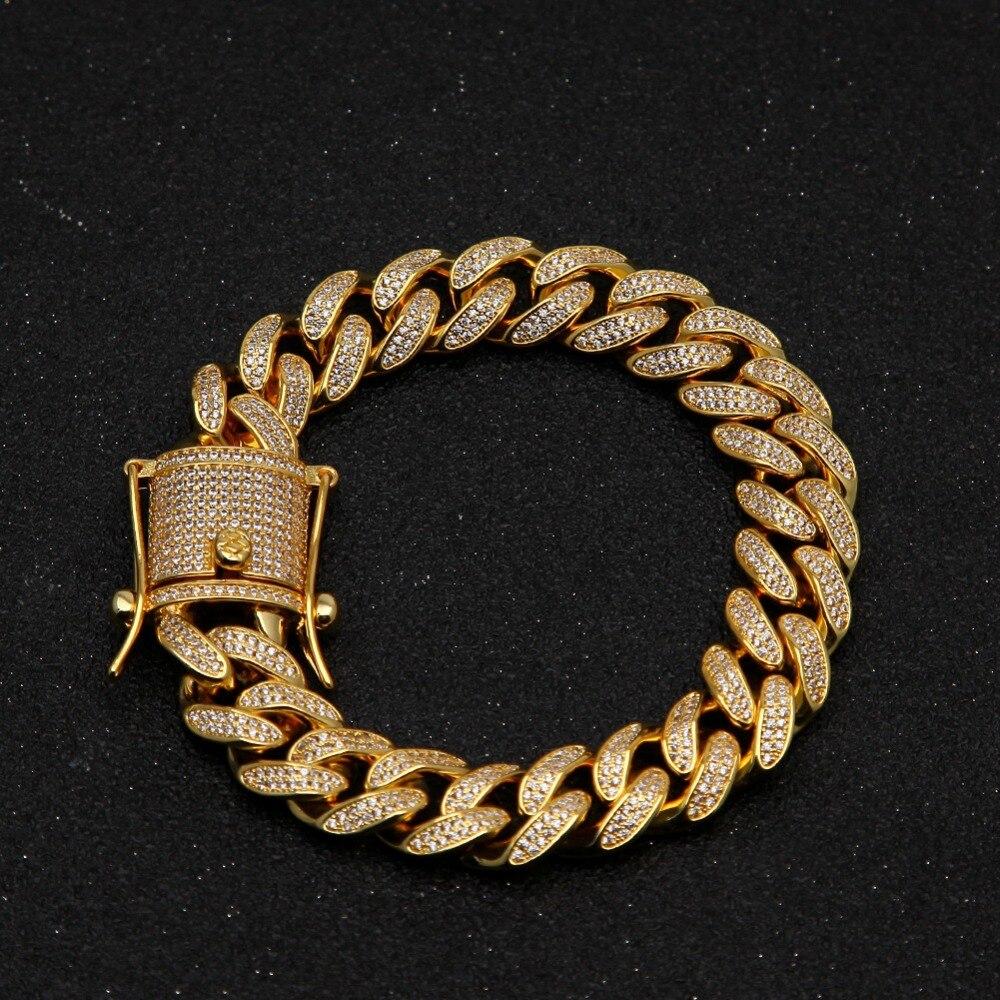 13mm cubique Zircon cubain lien Bracelet hommes Hip hop bijoux or argent lourd cuivre matériel glacé CZ chaîne Bracelet cadeau de fête