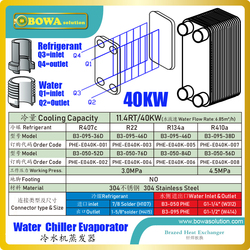 11.4TR/40KW stainless steel evaporator of water chiller is great choice to take heat from plastic injection cooling circulation