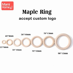 Image 2 - mamihome 100pcs 25mm 70mm Wood Teething Wooden Ring DIY Necklace Rattles wooden blank teether Nurse Gifts ChildrenS Goods toys