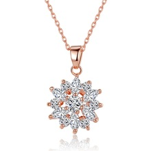 BISAER 2019 New Gold Color Heart-shape CZ Pendant Necklace for Women New Year Gifts for Girls Fashion Jewelry HMN018 bisaer authentic 925 sterling silver gold color mosaic red cz heart pendant necklace for women valentine s gifts jewelry gan014