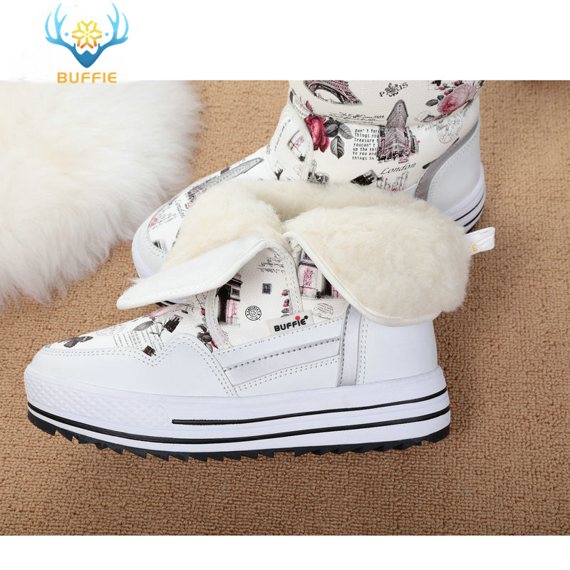 Image 5 - Lady Buffie Brand Fashion shoes mixed natural wool winter Women boots girl flower waterproof thermal snow boots colourful boots-in Mid-Calf Boots from Shoes
