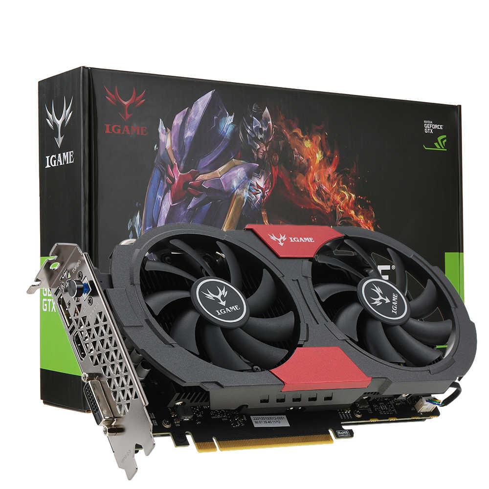 الملونة GTX 1050Ti نفيديا بطاقة جرافيكس غيفورسي iGame GTX1050 Ti GPU 4GB GDDR5 128bit PCI-E 3.0 الألعاب الفيديو بطاقة بلاكا دي بنصيحة