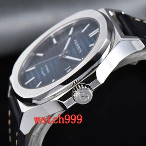 Image 2 - NEW 45mm PARNIS miyota mens watch Blue dial Sapphire Crystal Leather strap Luminous Mechanical Automatic Mens Watch