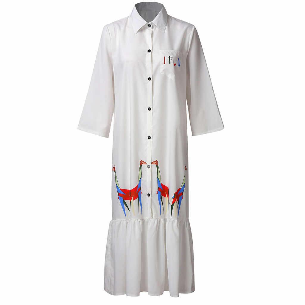 Kobiety lato biała sukienka stojak nadruk z żyrafą połowy łydki przycisk Party luźne pół sukienki letnia sukienka 2019 vestidos de verano nowość