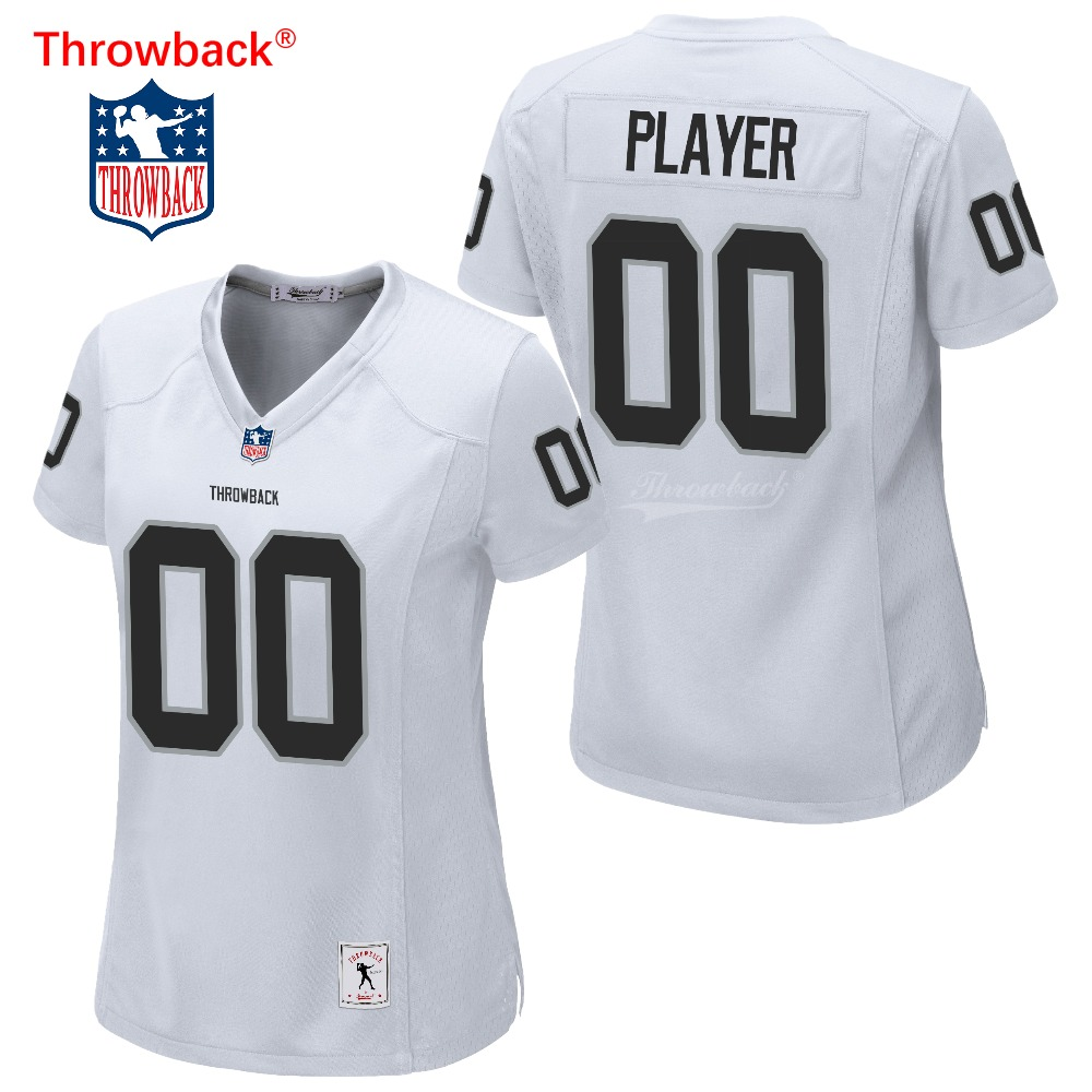 Throwback Jersey Women's Oakland American Football Jersey Customize Any Number Name Size S-XXXL Color White Free Shipping image