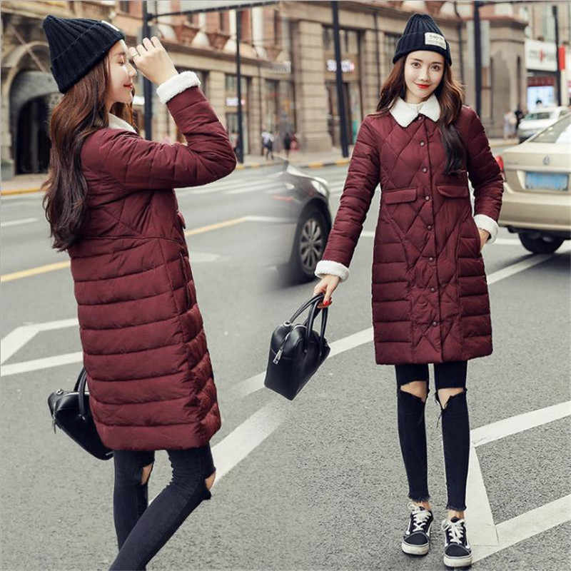 Осень Зима 2018 корейские модные женские длинные парки хлопчатобумажная набивная тонкая куртка женская одежда легкое пальто парка Femme CM587