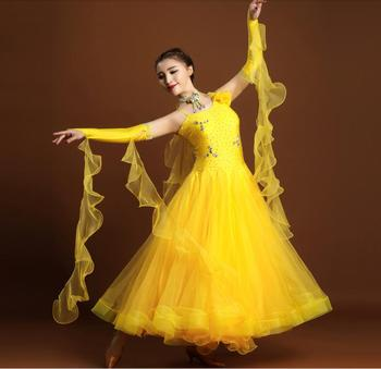 2017 Exquisite luxury rhinethone Standard ballroom dancing clothes Competition standard dance dress waltz