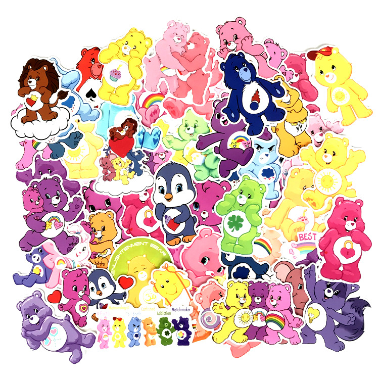 53pcs Care Bears DIY Pvc Waterproof Cartoon For Scrapbooking Album Luggage Skateboard Phone Wall Guitar Stickers