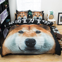 LLANCL Cartoon Dog Pug Shiba Inu Pomeranian Printed Quilt/Duvet cover Adult Bedroom 3pcs Polyester Christmas Gift Love Animal(China)