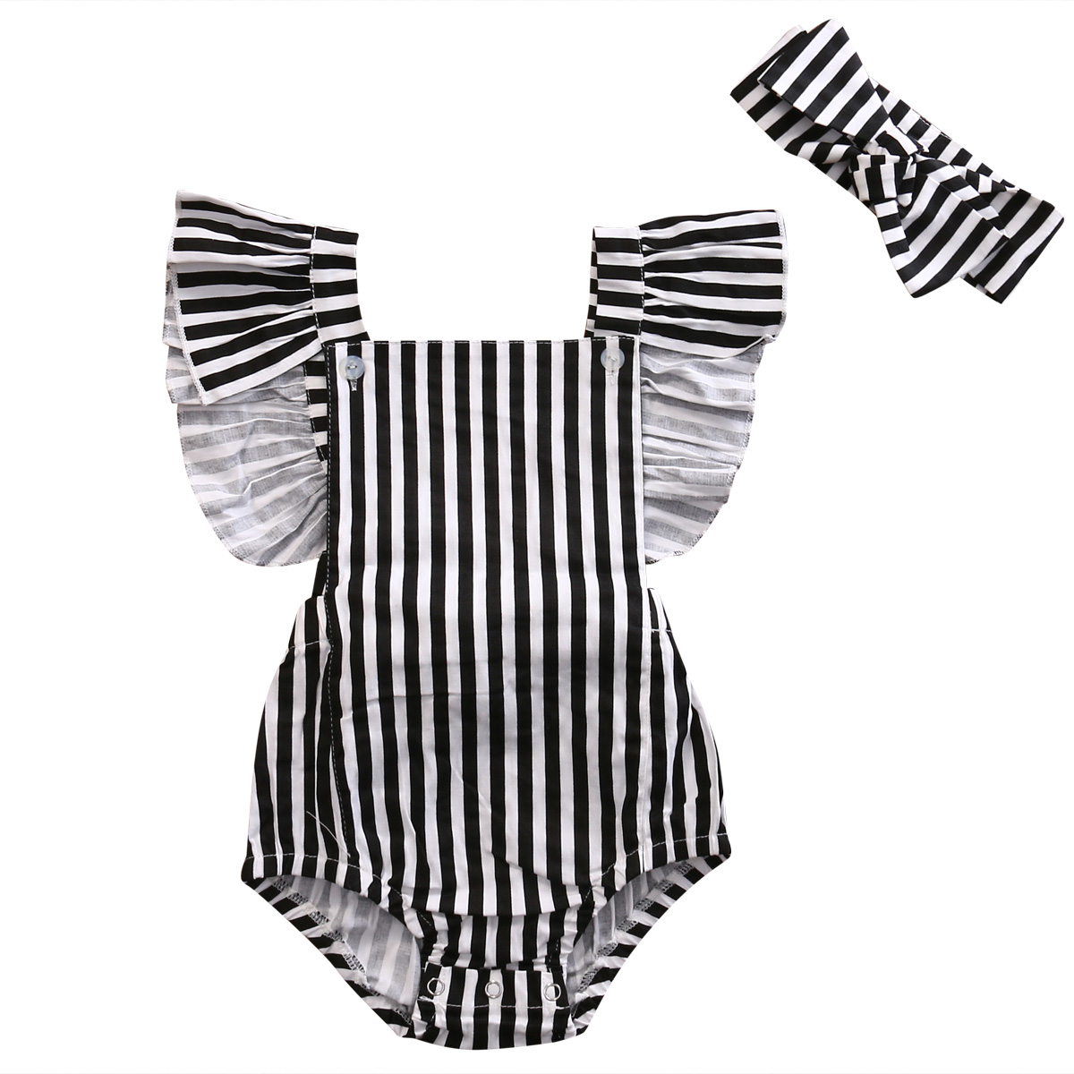 Newborn Infant Baby Clothes Girls Ruffle Sleeve Striped Romper Jumpsuit Handband 2pcs Outfits Summer Girls Clothing summer newborn infant baby girl romper short sleeve floral romper jumpsuit outfits sunsuit clothes