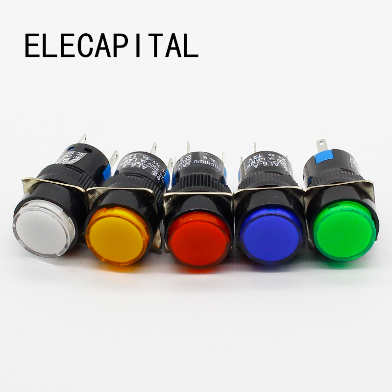 16mm DC 6V 12V 24V 220V LED Push Button Switch Blue Green Red Yellow White lamp Momentary push button auto reset [vk] 91316041633525 switch led pmi yellow red switch