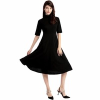 NEW Cotton Turtleneck Autumn Winter Vintage Dress Maxi Black Elegant Party Christmas Dress Dance Sexy Casual