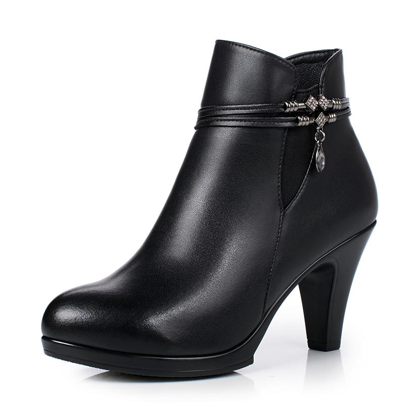 Hauts Hiver Mode Femmes Timetang forme Chaussures Véritable Automne Cheville Noir gris Cuir En Bottes Plate 2018 Talons DIY92WEH