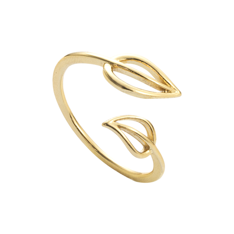 Delicate double leaf midi midi ring for Silver ring tarnished in swimming pool