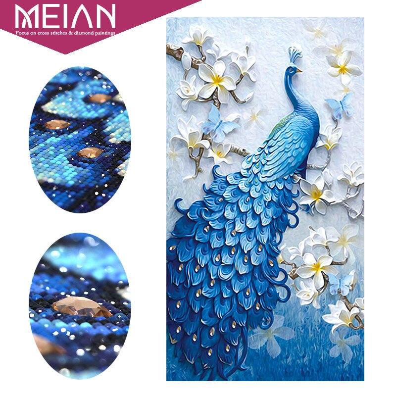 Meian, особой формы, Алмазный Вышивка, животных, павлин, полный, горный хрусталь, 5D, сделай Сам алмаз живопись, вышивка крестом, Алмазная мозаика...