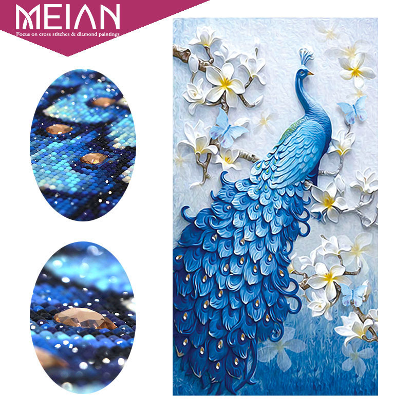 Meian,Special Shaped,Diamond Embroidery,Animal,Peacock,Full,Rhinestone,5D,DIY Diamond Painting,Cross Stitch,Diamond Mosaic,Decor