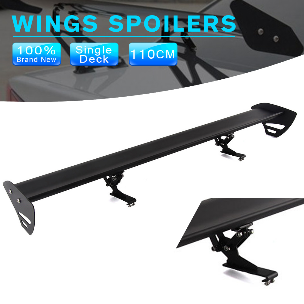 43'' Black Universal Single Deck Hatchback Car GT Rear Wing Racing Spoiler Lightweight Aluminum Free Hole Clamp Type hb universal high quality lightweight aluminum double deck gt spoiler rear spoiler wing racing black for auto car