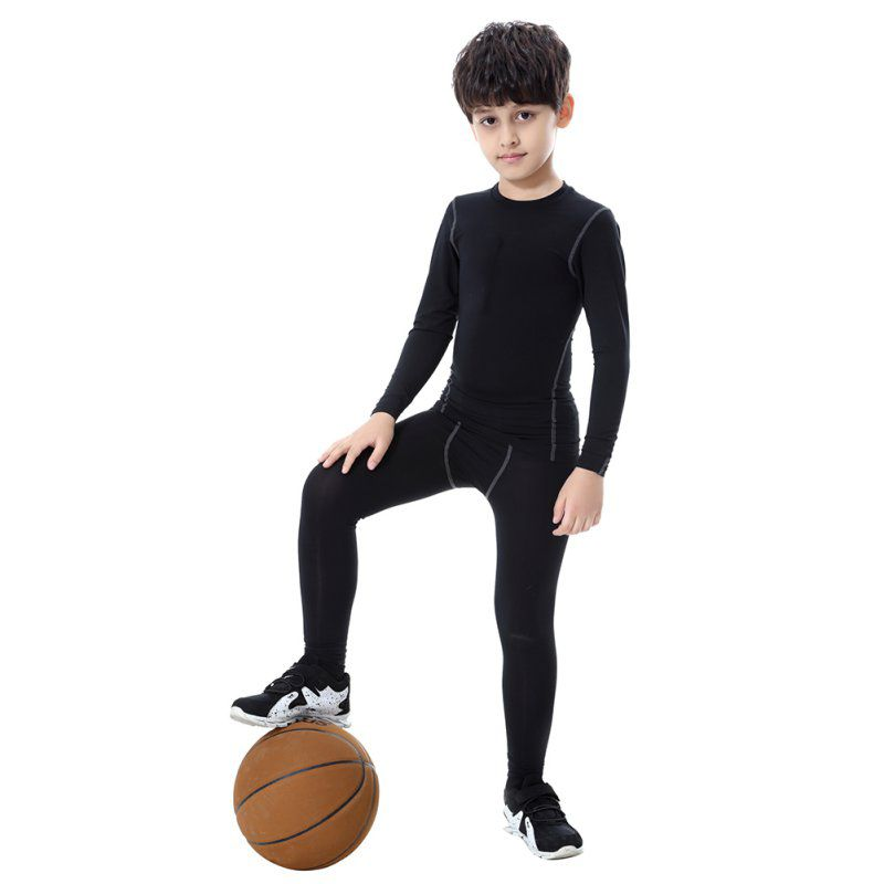 Kids Boys Compression Pants Sport Running Clothing Quick Dry Elastic Waist Skinny Pants Children Sport Tights