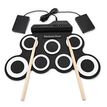 2018 компактные размеры Портативный цифровой Электронный Roll Up барабаны Комплект 7 кремния колодки USB Powered с палочки ног педали для автомобиля