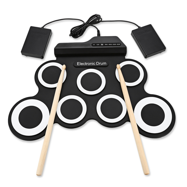 2018 Compact Size Portable Digital Electronic Roll Up Drum Set Kit 7 Silicon Drum Pads USB Powered with Drumsticks Foot Pedals