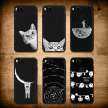 "Купить с кэшбэком IIOZO Case for Xiaomi Mi 5X Mi5 A1 Cool Ultra Thin Matte Soft TPU Silicone 5.5"" Cats Moon Space For MI5x A1 Phone Cover"