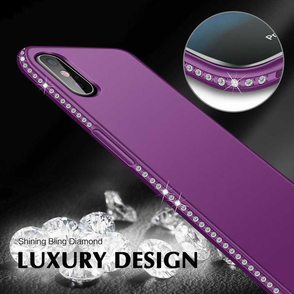 Diamante Brilho Caso para iphone 7 8 Plus X XR XS MAX 6 6 s Cobrir Samsung A6 A8 J4 j6 2018 S8 S9 S7 S10 Lite Nota 9 8 Casos TPU