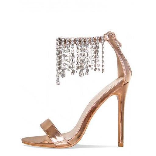Sexy Line-Style Crystal Fringe Women Sandals Stiletto Heels Cut-out Summer Dress Shoes Back Zipper Rhinestone Open Toe Shoes open shoulder laser cut out split back tee