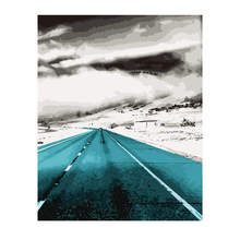 Painting By Number 40x50cm,Paint Kits,Abstract Empty Highway,Paint Numbers Set