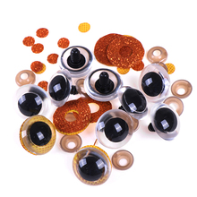 10pcs Shinning Plastic Doll Eyes Craft with Washer DIY For Plush Bear Stuffed Toys Animal Puppet Dolls 16-24mm Mix Colors