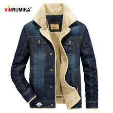 Dropshipping Large Size M-6XL 2019 Winter men's fleece warm cowboy jackets man spring autumn casual brand denim blue jacket coat(China)