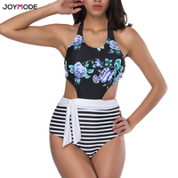 JOYMODE One Piece Swimsuit Bikini Women Print Sexy Monokini Backless Bathing Suit High Waist Pad Swimwear