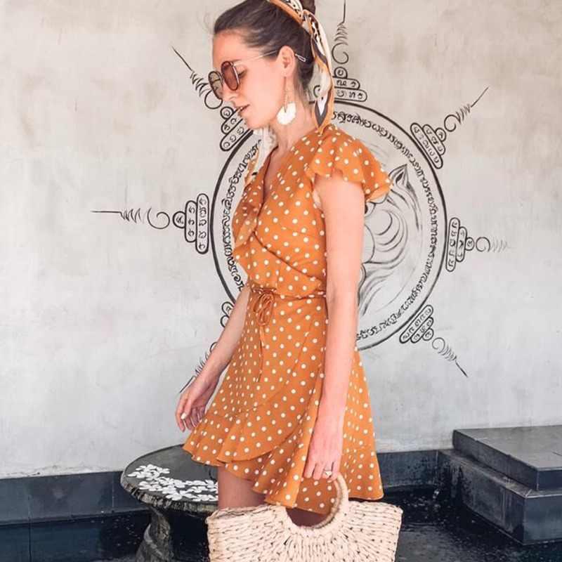 فستان نسائي صيفي مثير بياقة على شكل V ومنقط خصر نحيف على شكل حرف a فستان أنيق بأكمام على شكل فراشة فستان صغير عتيق للنساء