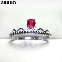 ZHHIRY Real Natural Ruby Ring Genuine 925 Sterling Silver Genuine Precious Red Gem Stone Rings For