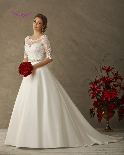 Dreagel High-end Custom Elegant O-neck Appliques A-line Satin Wedding Dresses 2016 Luxury Waist Crystal Beaded Vestido de Noiva
