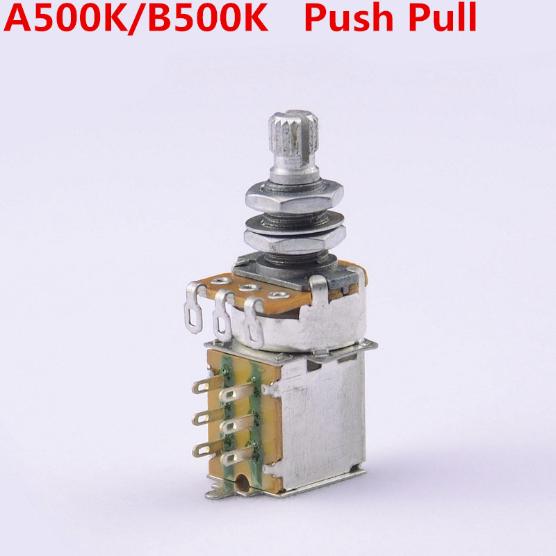 1 Piece GuitarFamily A500K/B500K Push Pull Switch Potentiometer(POT)  For Electric Guitar Bass  ( #0359 ) MADE IN KOREA