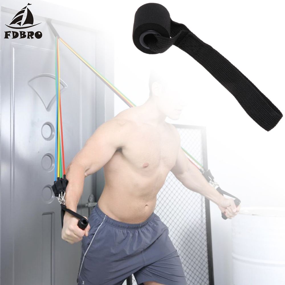 FDBRO New Home Fitness Equipment Pull Rope Exercise Resistance Bands Over Door Anchor Holder Sponge Elastic Bands Accessories