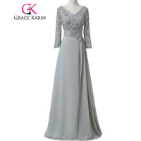 Grace Karin Chiffon Lace Mother of the Bride Dresses 3/4 Sleeve Double V Neck Floor Length Grey Beading Formal Mother Prom Dress