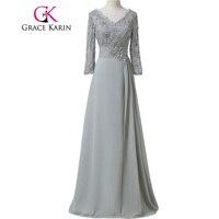 Free Shipping Grace Karin 3 4 Sleeve Double V Neck Floor Length Gray Brides Mother Dresses