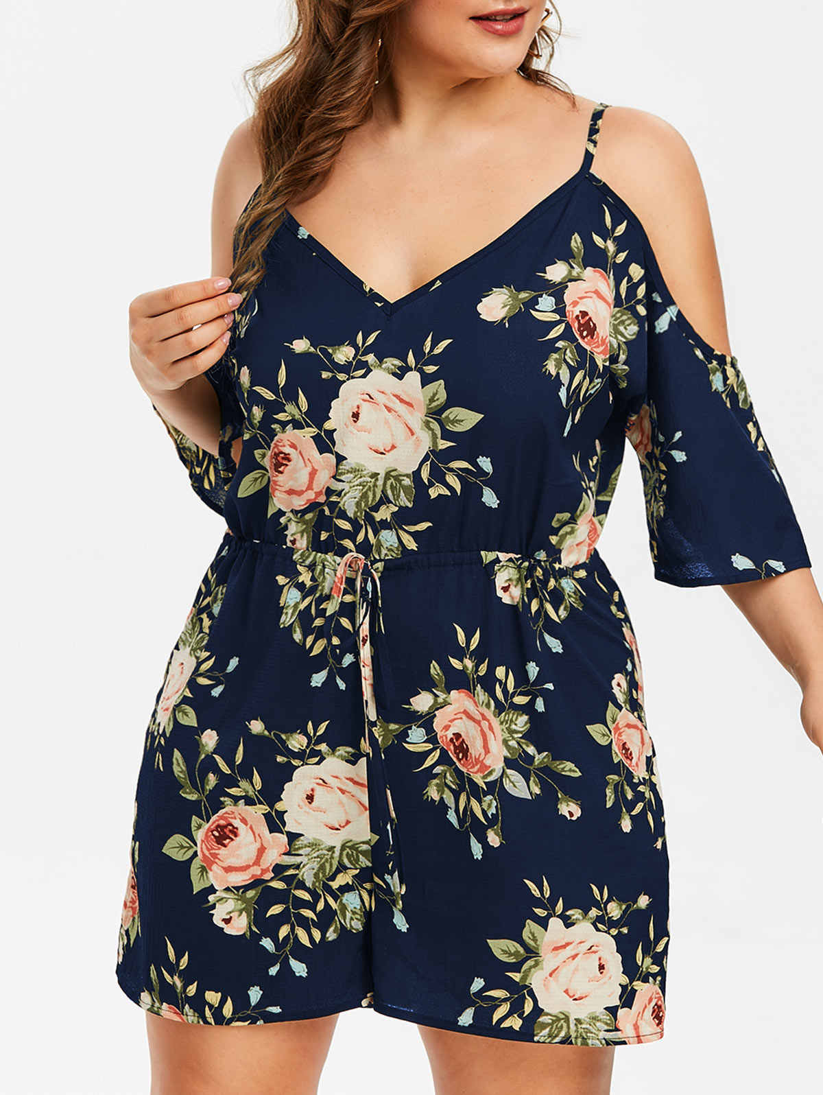 ROSEGAL Plus Größe Frauen Blumen Overalls Blume Cami Strampler Beiläufige Streetwear Sexy Hohe Wasit Frauen Sommer Playsuits 2019