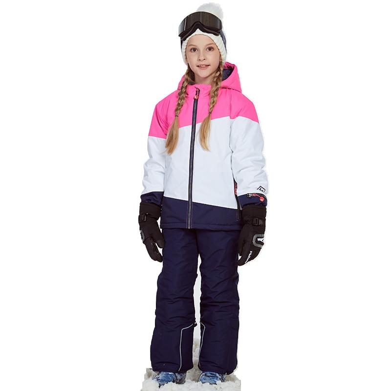 Dollplus/лыжные костюмы для девочек; ветрозащитная куртка и штаны; зимний теплый лыжный костюм; комплект верхней одежды для детей; зимние компле