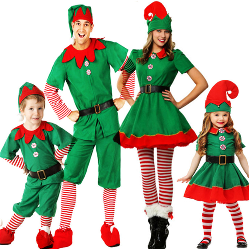 children's Christmas costume Christmas elf cosplay parent-child costume men and women Boy girl green Christmas clothing