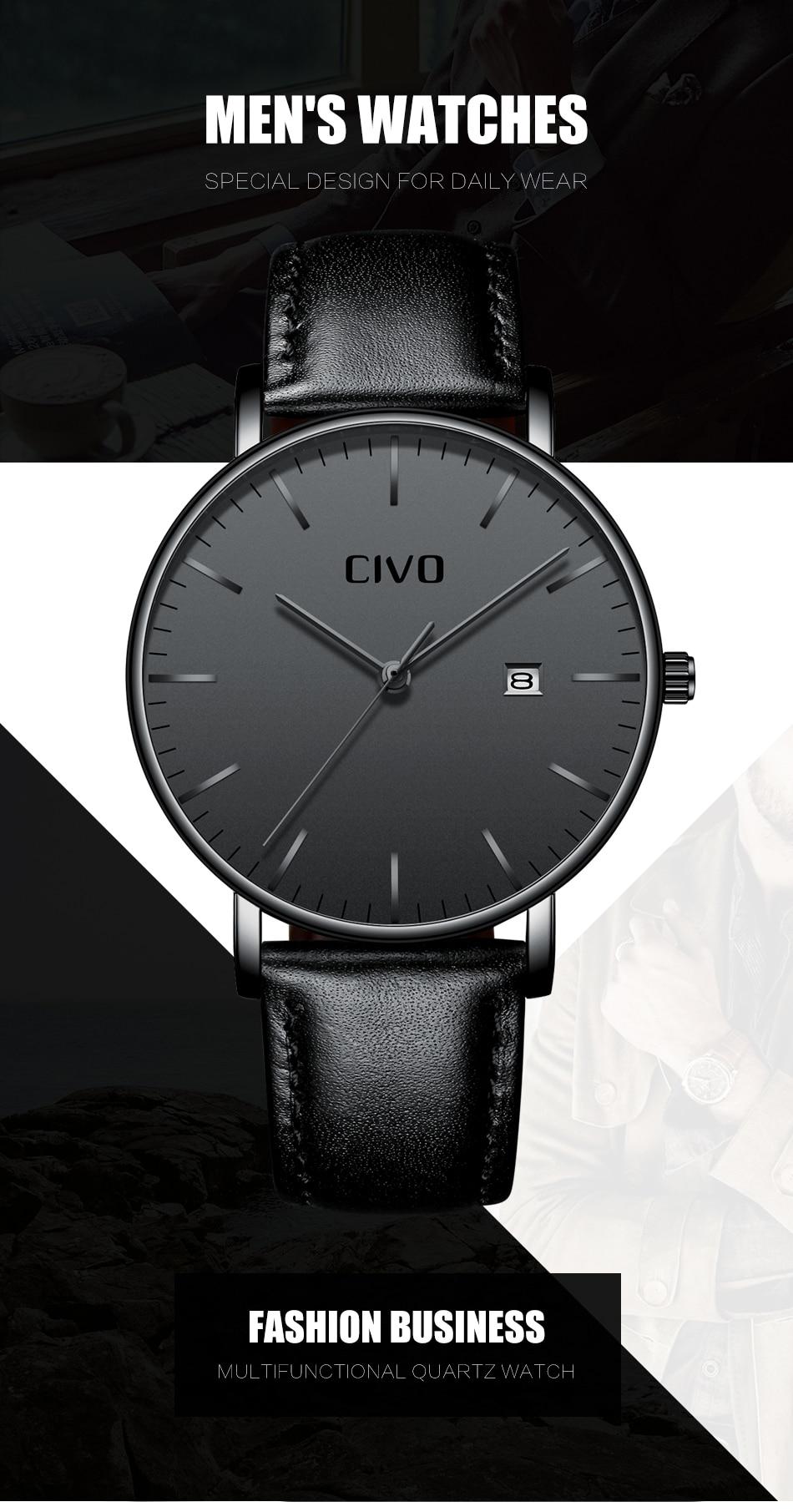 CIVO Men Watch Ultra Thin Minimalist Waterproof Date Wrist Watch For Men Black Genuine Leather Business Fashion Watch Men Clock 3