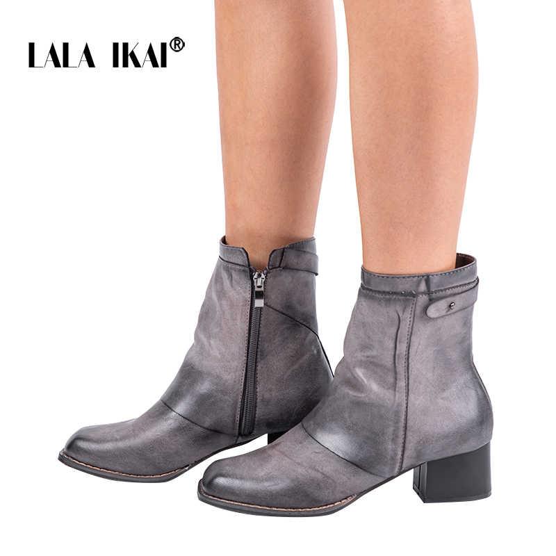 LALA IKAI Kadınlar Kış PU Deri Gri yarım çizmeler Kare Ayak Med Topuk Fermuar Bayanlar Bootie 2019 Ayakkabı Peluş 014C2228- 4